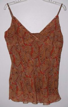 Polo Jeans Co Ralph Lauren Silk Beaded Camisole Tank Top Large Women's Fashion Spring Summer Style