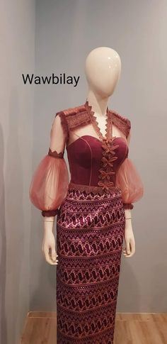 Traditional Dresses Designs, Traditional Gowns, Myanmar Traditional Dress, Office Outfits Women Casual, Vintage Dresses, Nice Dresses, Myanmar Dress Design, Kebaya Dress, Batik Fashion