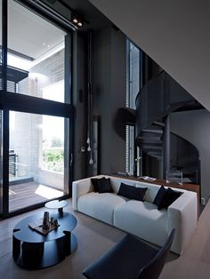 ♂ Modern interior design bachelor pad black and white urban loft