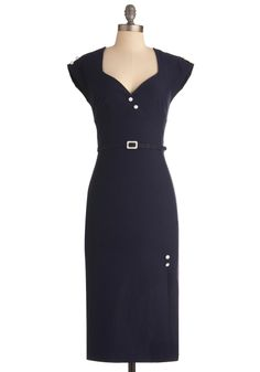 La Vie de Vixen Dress by Stop Staring! - Long, Blue, Solid, Buttons, Work, Sheath / Shift, Cap Sleeves, Vintage Inspired, 60s