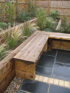 A friendly, professional Garden Design service from an experienced garden designer working in the East Midlands and throughout the UK Back Garden Design, Backyard Garden Design, Small Backyard Landscaping, Built In Garden Seating, Sleepers In Garden, Small Back Gardens, Corner Garden, Diy Holz, Garden Furniture