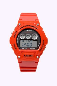Casio Red Round Illuminating Watch at Urban Outfitters