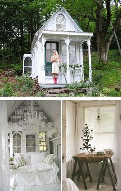 She Sheds are small dwellings or shelters in a backyard, that are about the size of a garden shed (or a bit bigger), that can be used as a quiet getaway . Better Homes And Gardens, Shed Conversion Ideas, Cheap Sheds, Deco Champetre, Wooden Sheds, Woman Cave, Lady Cave, Potting Sheds, Shed Design