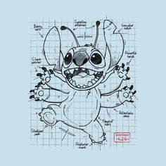 Experiment 626 - Stitch - T-Shirt Disney Sketches, Disney Drawings, Cute Drawings, Disney Stitch Tattoo, Disney Tattoos, Famous Artwork, Cool Artwork, Disney Art, Walt Disney