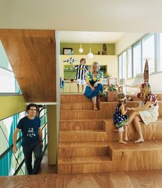 Plywood split level staircases at Polygreen by Bellemo & Cat Architects double as an amphitheatre for casual seating (and seating for impromptu children's plays, we're told!) (via Lunchbox Architect)