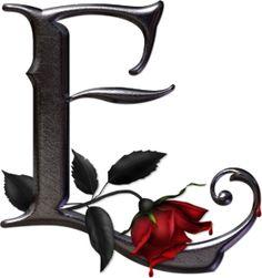 Abecedario gótico adornado con rosas. Letra E (vocal) mayúscula.