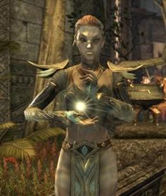 Indoril Almalexia, a Chimer. The Chimer are ancestors of the modern Dunmer, or Dark Elves. The Chimer clans followed the Prophet Veloth out of the ancestral Elven homelands in the southwest to settle in the lands now known as Morrowind.