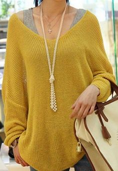 Stylish V-Neck Loose-Fitting Dolman Sleeve Sweater For Women