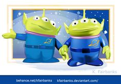Digital drawing of aliens from Toy Story by K. Fairbanks. Media: Illustrator. View additional art by K. Fairbanks at http://graphics.ms11.net/index.html #Art #DigitalArt #Vector #Illustrator #ToyStory