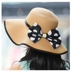 Polka dot bow straw hat for women wide brim sun hats package