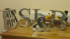 3d metal hand made industrial letters