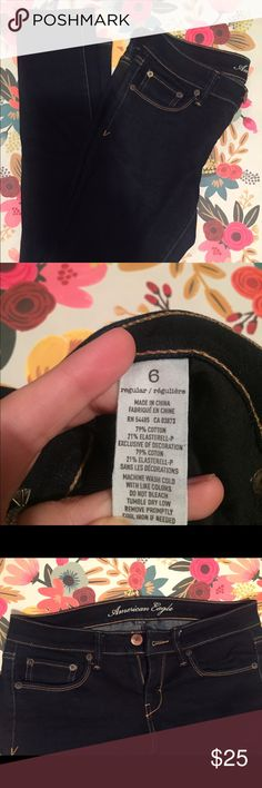 American Eagle dark wash skinny jeans EUC American Eagle skinny jeans. Dark wash.  Some discoloration on the button (see pic). Let me know if you have any questions.  🌼 offers welcome American Eagle Outfitters Jeans Skinny