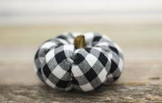 Handmade Mini Farmhouse Pumpkin, Buffalo Check, Thanksgiving Decor, Neutrals #Handmade #Farmhouse #Thanksgiving Pumpkin Decorating, Buffalo Check, Thanksgiving Decorations, Fall Decor, Farmhouse Decor, Neutral, Mini, Handmade, Crafts