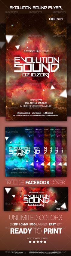 """Evolution Sound Flyer  #GraphicRiver        Evolution Sound Flyer With FBCOVER  Perfect For your festival  Technical Description The PSD file is setup at 1200px x 2100 px (4×7"""") 0.25"""" bleeds CMYK 300DPI – READY TO PRINT Easy to customize! 5 color styles! – All the text is edited – Fonts links in .txt file – Fully layered  The PSD file is very well organised. Recomendation: I suggest to familiarise yourself with what folders do what, is to quickly go down the layer list and turn off/on the…"""