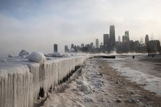 Frozen Lake Michigan in Chicago, Illinois