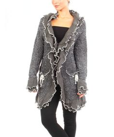 Another great find on #zulily! Gray Contrast-Ruffle Knit Jacket by Michael K #zulilyfinds