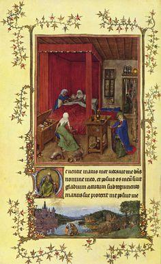 karta z Godzinek turyńsko-mediolańskich przedstawiające narodziny Jana Chrzciciela; autorstwo przypisywane Janowi van Eyckowi