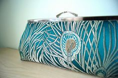 EllenVintage Peacock Teal Clutch with Silk lining by JustPeacockEV, $59.00