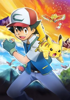 The film's plot tells the story of how Satoshi and Pikachu came to know each other. Pikachu was not cooperative toward Satoshi Pikachu Art, Cute Pikachu, Mega Pokemon, Pokemon Fan, Pokemon Images, Pokemon Pictures, Digimon, Satoshi Pokemon, Pokemon Ash Ketchum