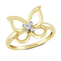 Diamond Accent Butterfly Ring in 10K Gold - Clearance - Zales