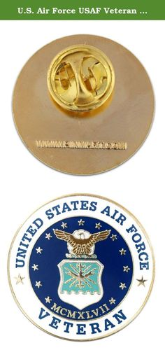 """U.S. Air Force USAF Veteran Lapel Pin. U.S. Air Force Veteran Pin. This is a classic 1"""" pin made of die struck jewelers metal, enamel color filled, gold plated and epoxy coated. Each pin includes a standard clutch back and is individually poly bagged."""