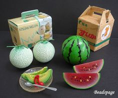 16 Scale Dollhouse Miniature Fruit Set Japanese by BEADSPAGE, $9.90
