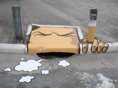 """""""gutter mouth""""  creative use of existing infrastructure  #graffiti #streetart"""