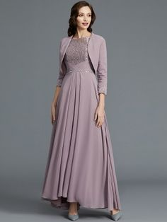 A-Line/Princess Sleeves Scoop Asymmetrical Chiffon Mother of the Bride Dresses - Hebeos Online Bride Dress Simple, Simple Gowns, Groom Outfit, Groom Dress, Groom Wear, Wedding Party Dresses, Bridesmaid Dresses, Bride Dresses, Ivory Dresses