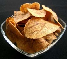 Cuban chicharritas, also known as mariquitas. These are delicious chips made from green plantains.