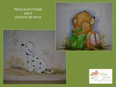 Pintura em tecido de fralda para paninho de boca - Além Brasil