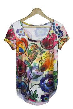Colorful female t-shirt with short sleeve. Beautiful floral imprint.