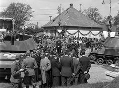 Mátyásföld, Újszász utca 41-43. Magyar Királyi Honvéd gépkocsiszertár díszudvara, haditechnikai bemutató. Ww2 Tanks, Utca, Gun Turret