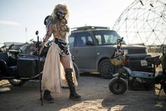 Desirae Hepp, dressed as Immortan Joe from <em>Mad Max: Fury Road,</em> poses for a portrait during the Wasteland Weekend event in California City, California, on September 26, 2015. The four-day event has a post-apocalyptic theme and is inspired by the Mad Max movie franchise.