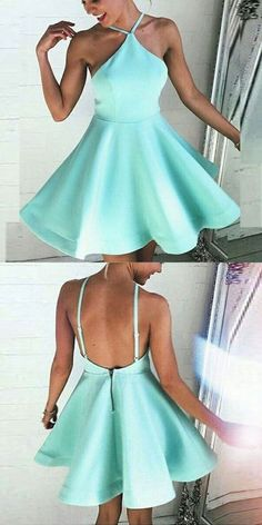 short backless wedding dress cute mint party dresses, homecoming dresses,2017 fashion party dresses