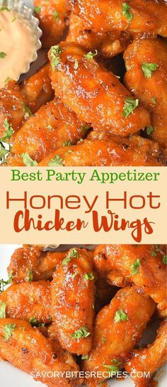 Try this recipe of best sticky spicy Honey Hot Wings,which are perfect as an appetizer for any parties or even super bowl and the sauce is made with few basic ingredients and they are so easy that chicken wings are not fried but baked in the oven! Hot Wing Sauces, Chicken Wing Sauces, Chicken Wings Spicy, Best Baked Chicken Wings, Chiken Wings, Chicken Breasts, Best Chicken Wing Recipe, Best Chicken Recipes, Sweet Chicken Wings Recipe