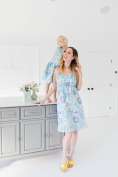 10dec191ff83e Eva Amurri Martino stands in a floral ruffle dress in the studio of her  connecticut home