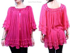 9c55995450d Items similar to Mexican blouse tunic Angelwing bell sleeve Babydoll Hippie  Bohemian Vintage 70s style One of a Kind - ON SALE on Etsy