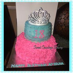 Pink & teal butter cream cake with tiara #princesscake
