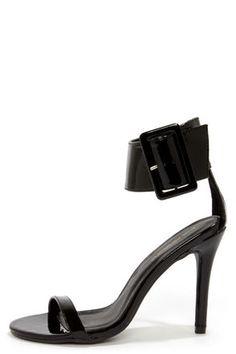 love the thick strap - Shoe Republic LA Gayla Black Patent Single Strap Heels at LuLus.com!