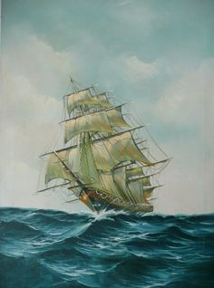 Oil On Canvas Clipper Ship On The Sea Signed - For sale on Ruby Lane