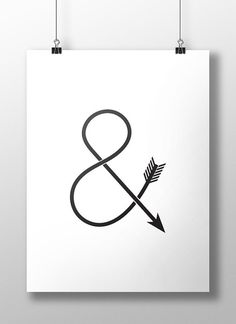 Ampersand Arrow Print Black and White Wall Art by LineLightStore