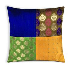 Orange Green Red Silk Pillow Cover - Woven Gold Banaras Border - Yellow Raw Silk Decorative Throw Pillow - Gift 4 Her - Entryway Pillow Cushion Cover Designs, Pillow Cover Design, Diy Pillow Covers, Cushion Covers, Handmade Pillows, Decorative Throw Pillows, Reuse Old Clothes, Cushion Embroidery, Pillos