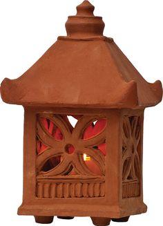 Terracotta Clay Garden Lantern (star flower design)