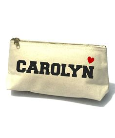 Black Bold Uppercase Heart Bella Personalized Cosmetic Bag