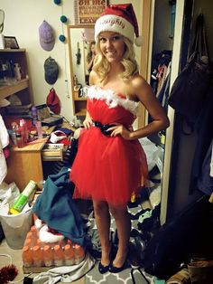 Christmas party outfit mrs Claus naughty or nice tulle red dress