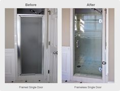 Shower door inspiration - Check out the before and after pictures of this walk-in shower. The old framed shower door was replaced with a frameless shower door. An amazing transformation! Framed Shower Door, Frameless Shower Doors, Shower Makeover, Door Makeover, Basement Makeover, Basement Ideas, Small Shower Remodel, Bath Remodel, Small Shower Stalls