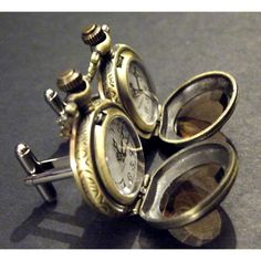 Mens Pocket Watch Cufflinks Steampunk Victorian Style Amber Glass Cuff links on Etsy, $49.99