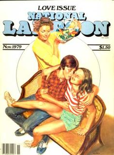 Cover illustration for the American magazine National Lampoon (Love Issue, November by: Mara McAfee. Slice Of Life, National Lampoon Magazine, Cartoons Magazine, American Humor, National Lampoons, Magazine Art, Magazine Covers, Pulp Art, Comic Covers