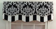 Damask layered shaped valance in black  navy or grey by VieDeJolie