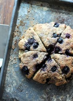 Healthy scones made with whole wheat flour, greek yogurt, and blueberries.